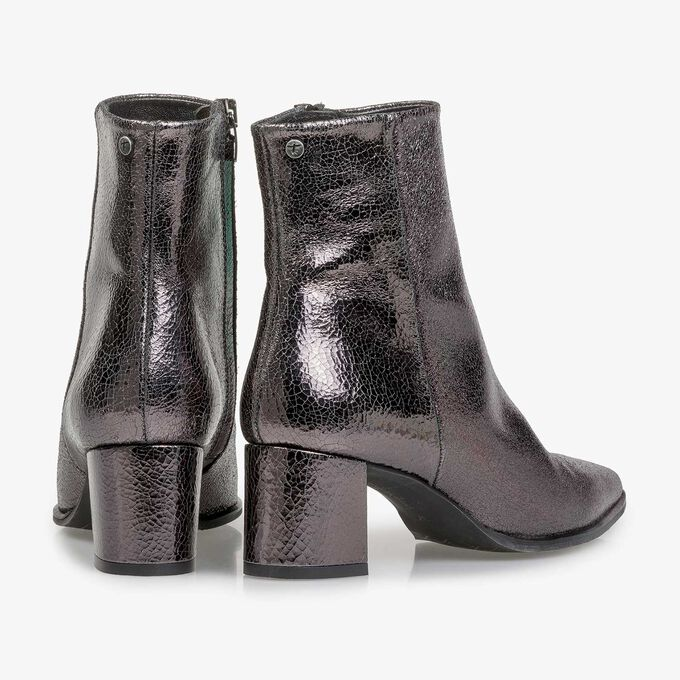 Dark grey leather ankle boots with metallic print