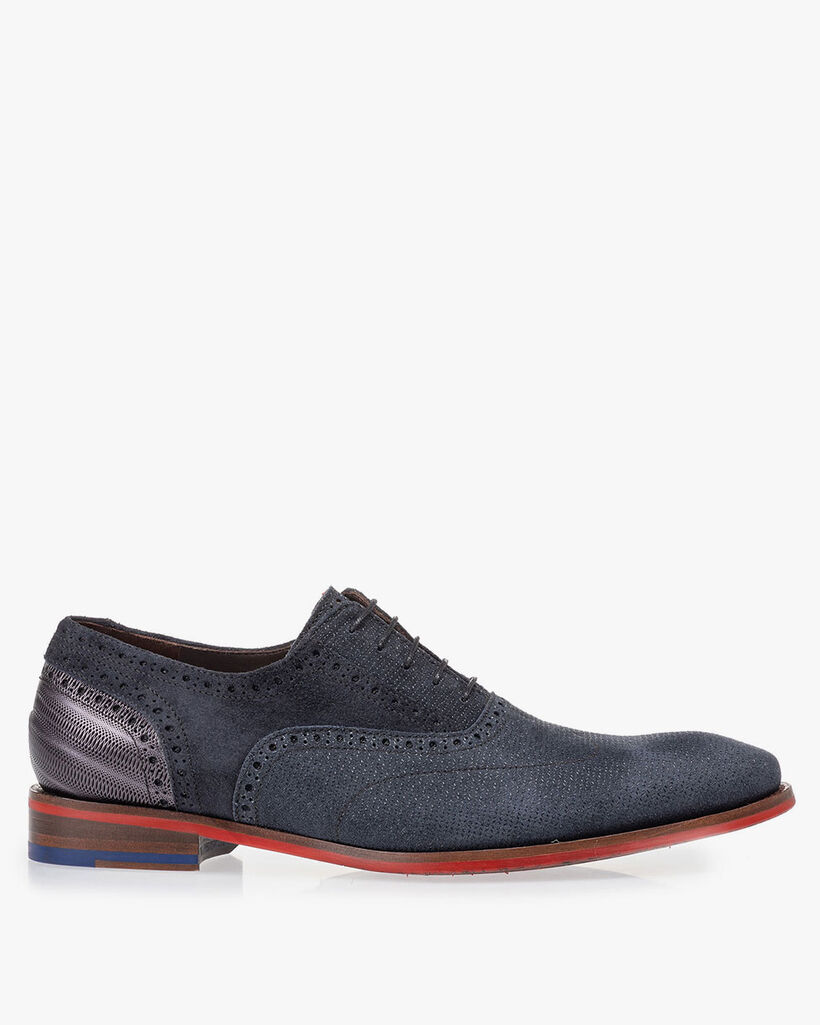 Lace shoe dark blue with print
