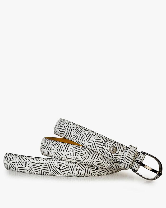 Belt printed leather black & white
