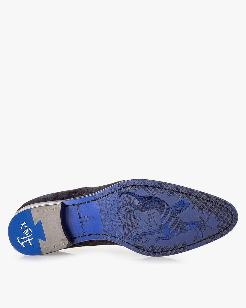 Schnürstiefel blau mit Print