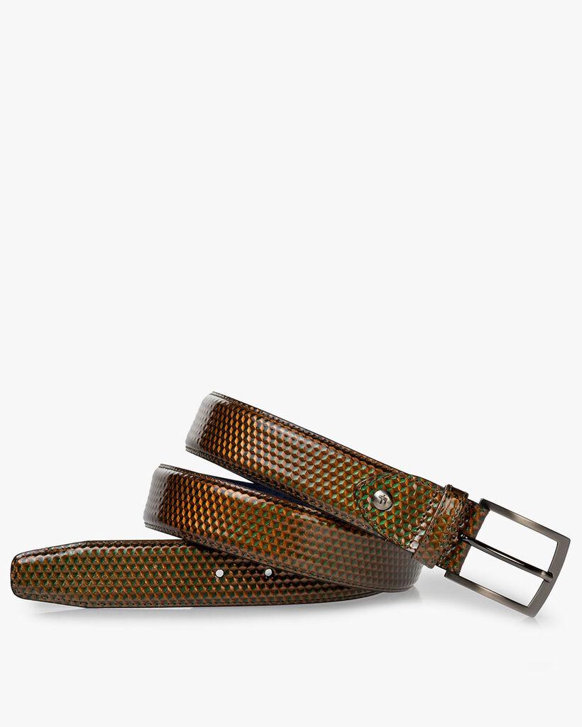 Belt patent leather green
