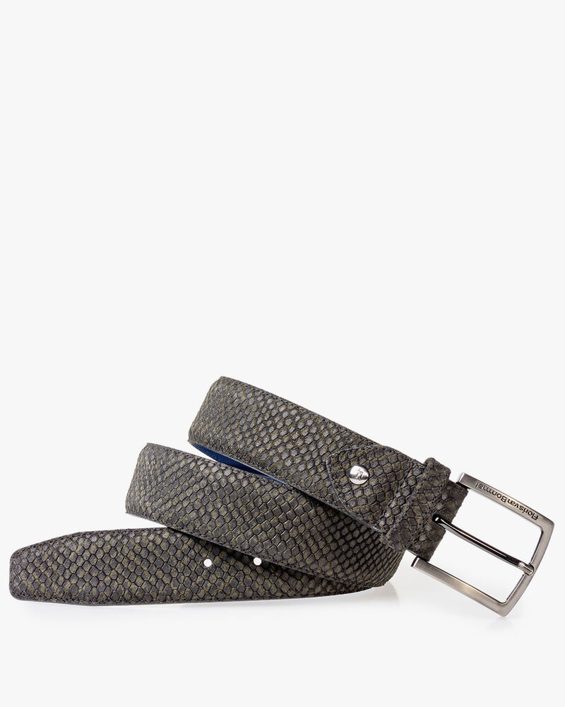 Suede leather belt green with black print