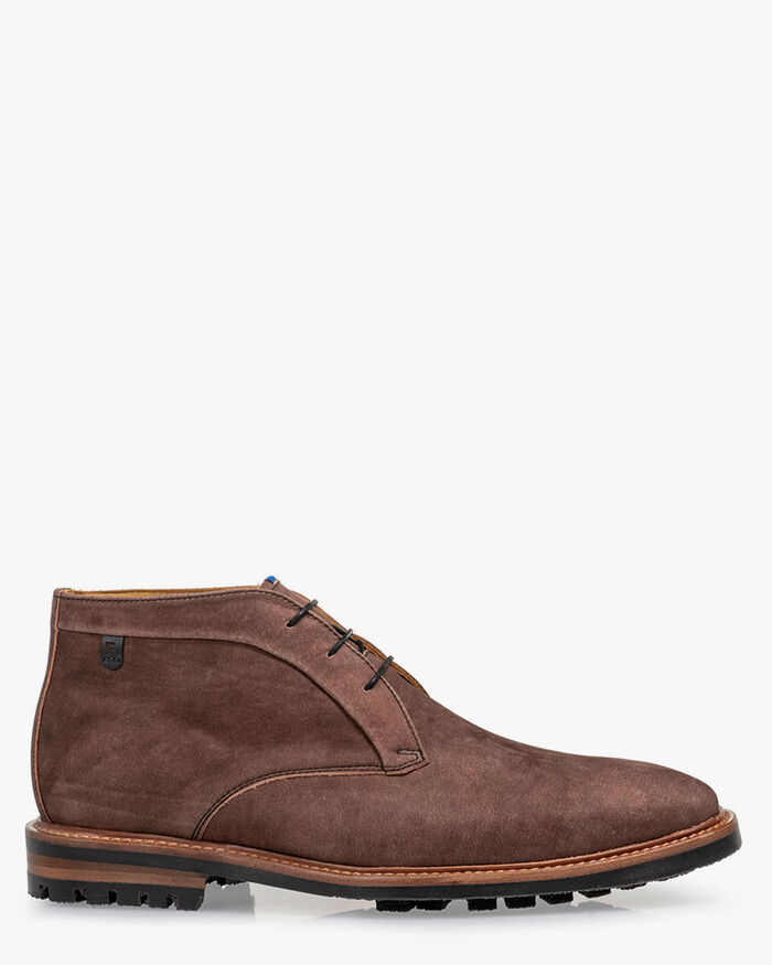 Lace boot nubuck leather brown