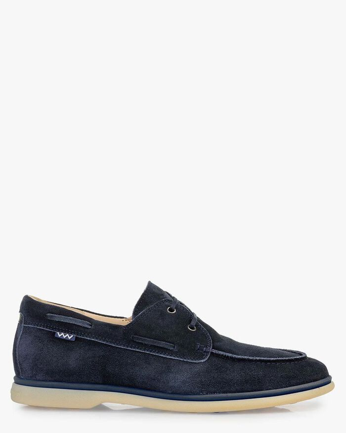 Boat shoe suede leather blue
