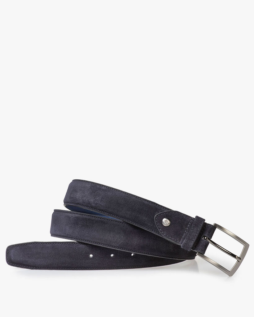 Dark blue suede leather belt with print