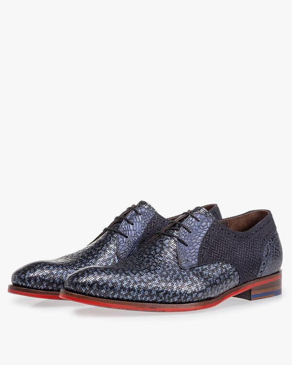 Lace shoe blue metallic