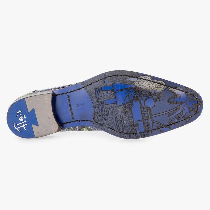 Blauer Premium Schnürschuh mit Krokoprint