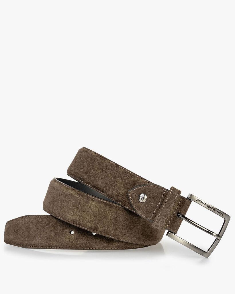 Suede leather belt dark green