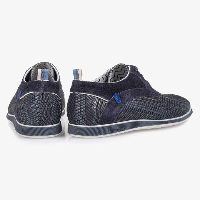 Blauer, geflochtener Leder-Schnürschuh