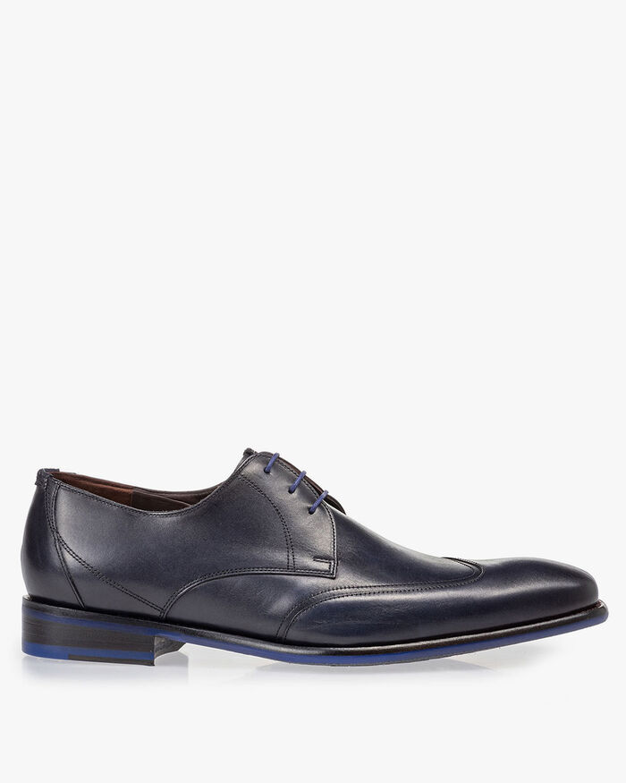Lace shoe dark blue calf leather