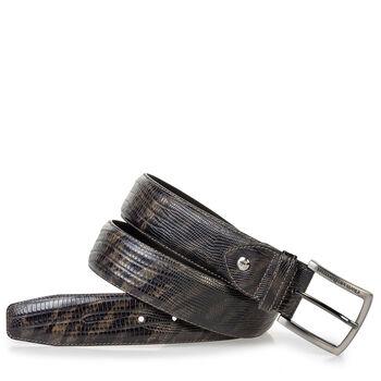 Leather belt lizard print green