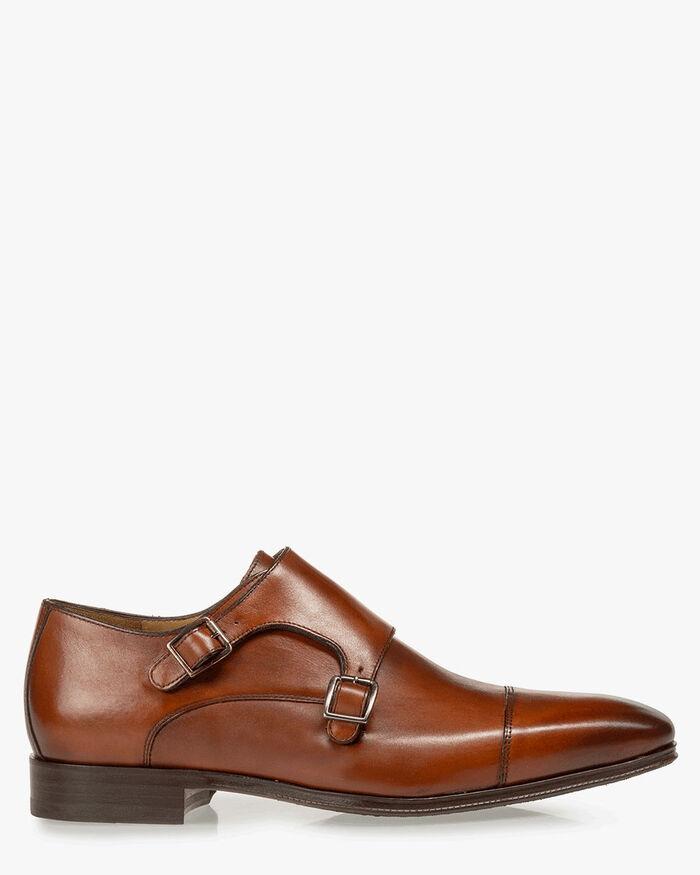 Monk strap calf leather dark cognac