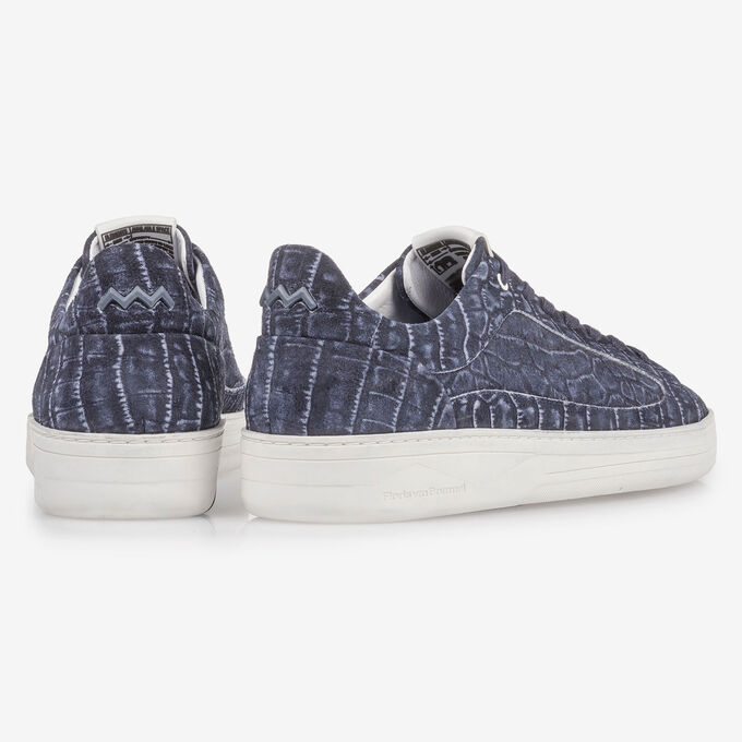 Dark blue sneaker with croco print