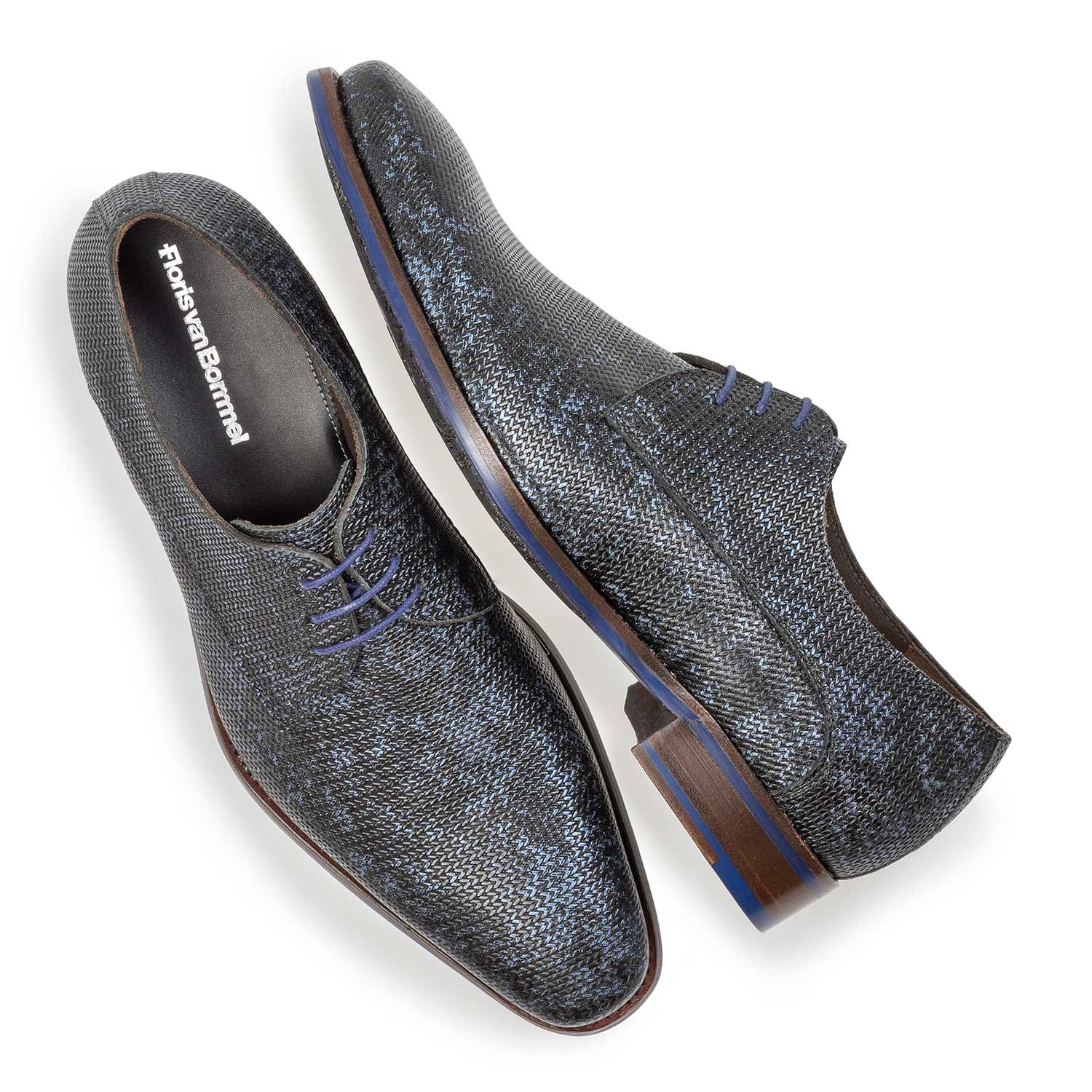 18159/01 - Dark blue leather lace shoe with metallic print