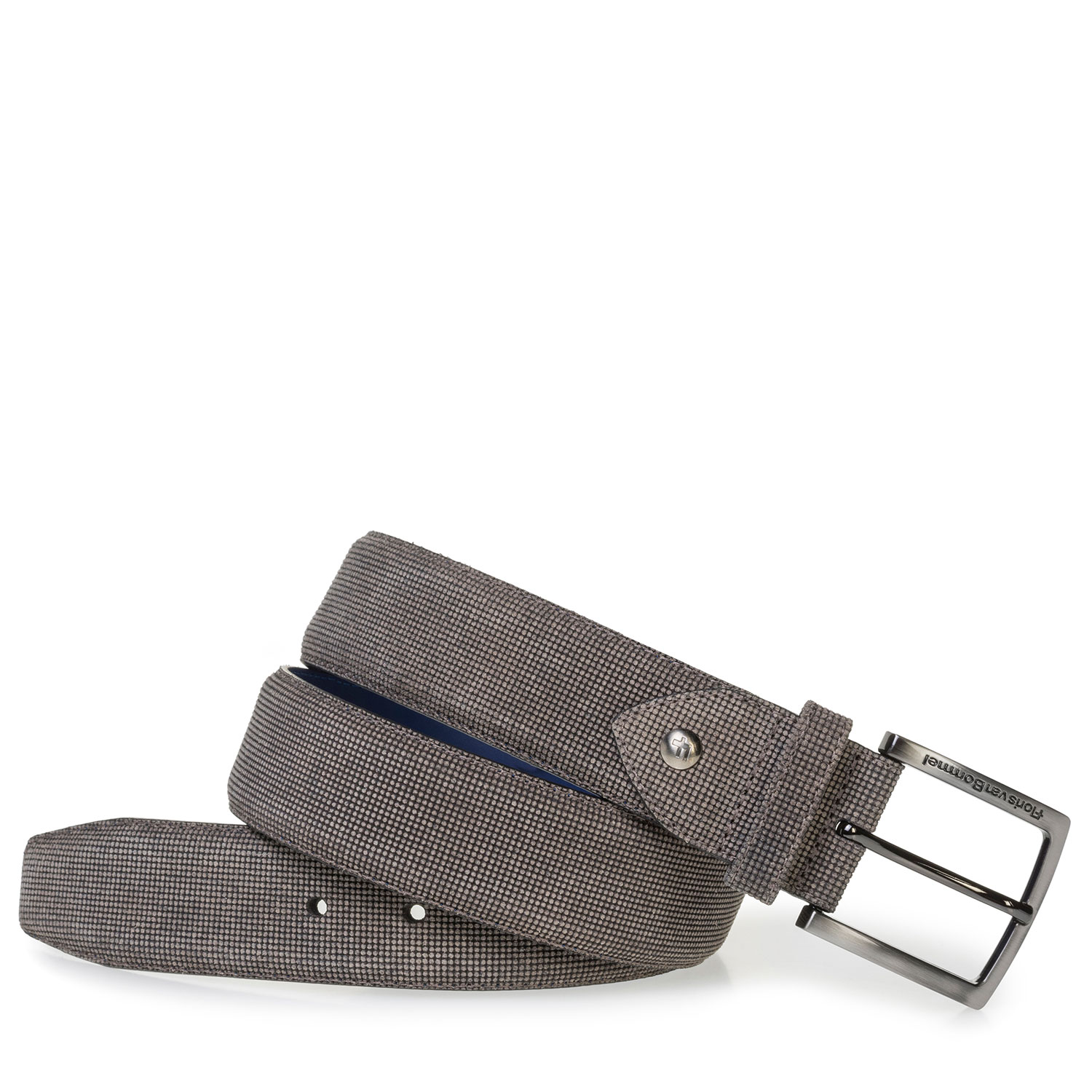 75202/52 - Brown suede leather belt with print