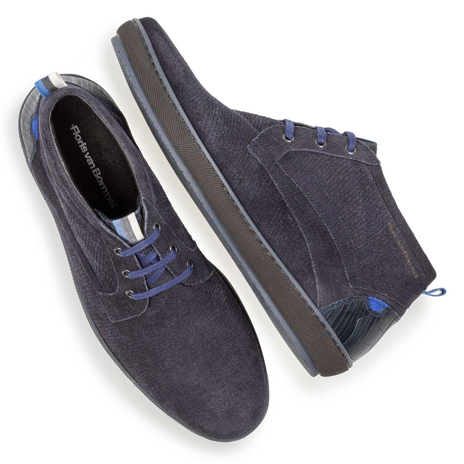 10074/12 - Dark blue printed suede leather lace shoe