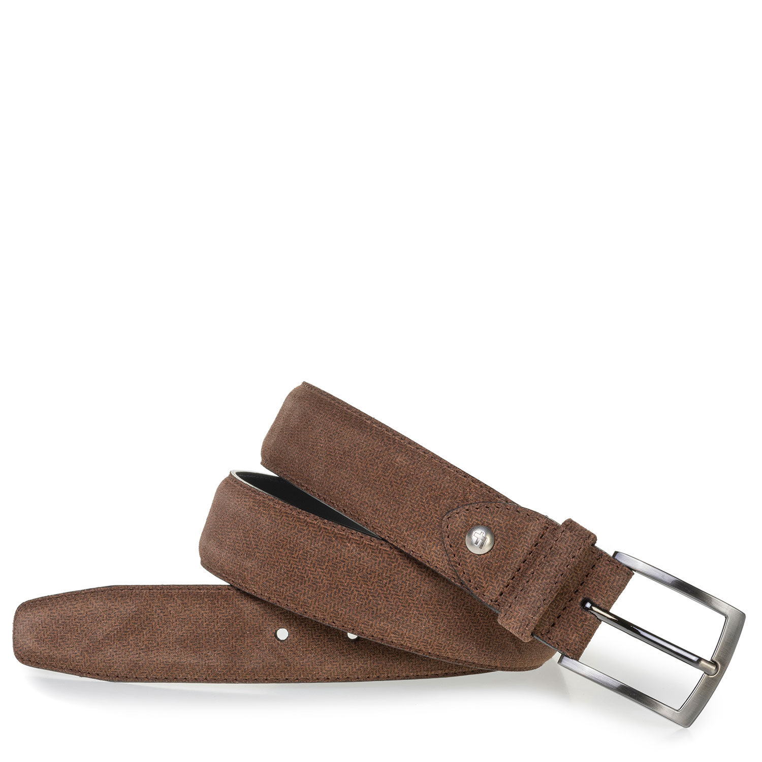 75201/72 - Cognac-coloured suede leather belt with print