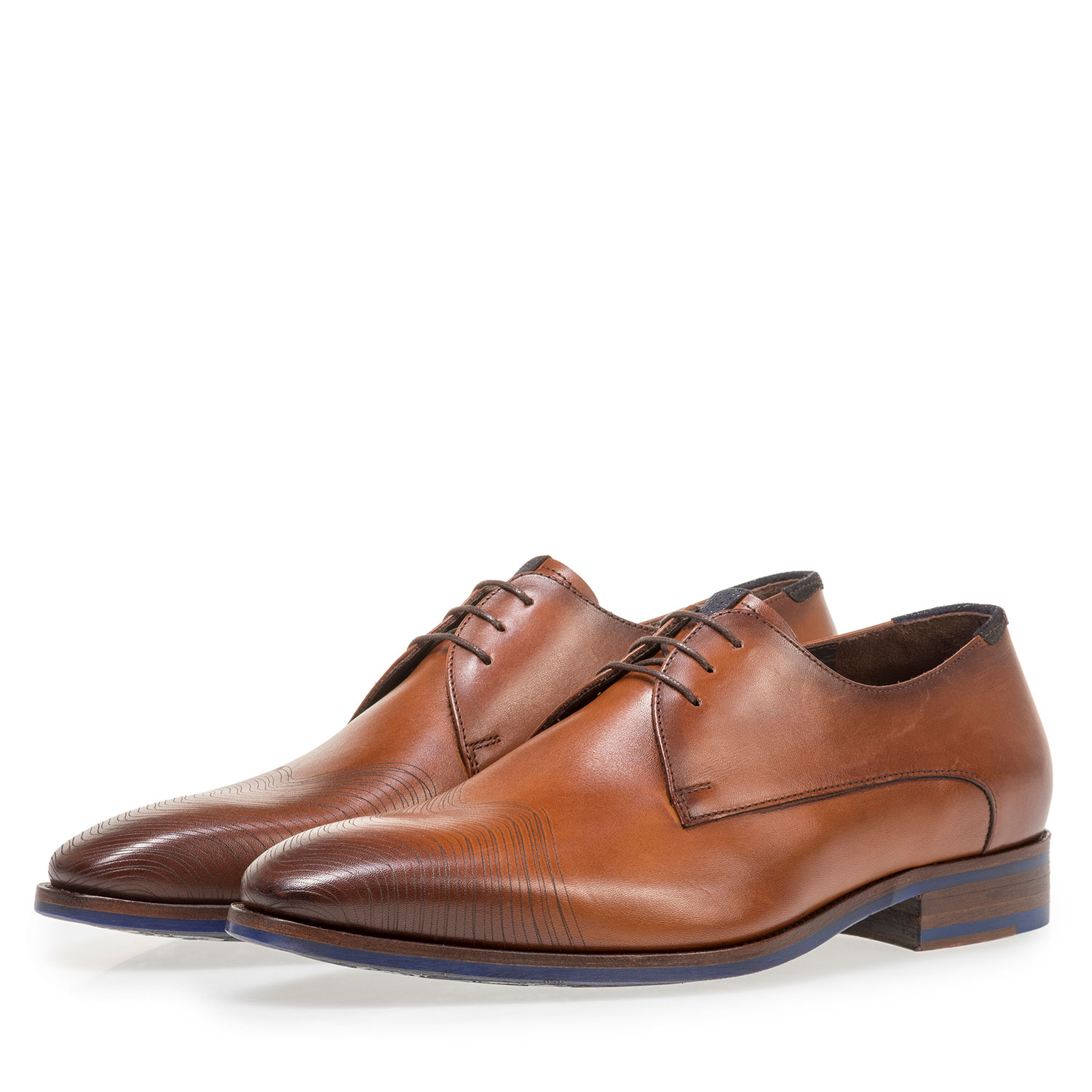 18288/00 - Dark cognac-coloured calf leather lace shoe