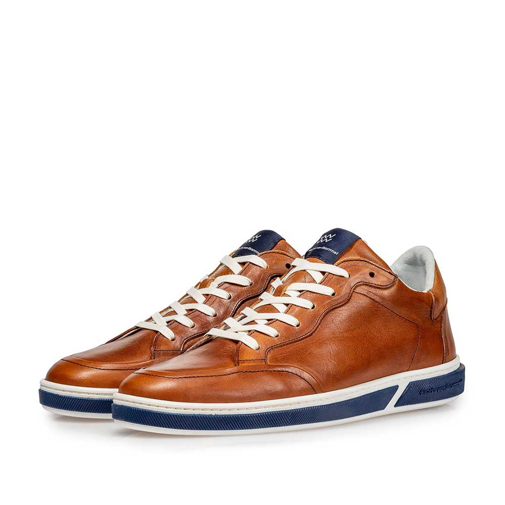 13350/07 - Cognac-coloured calf leather lace shoe