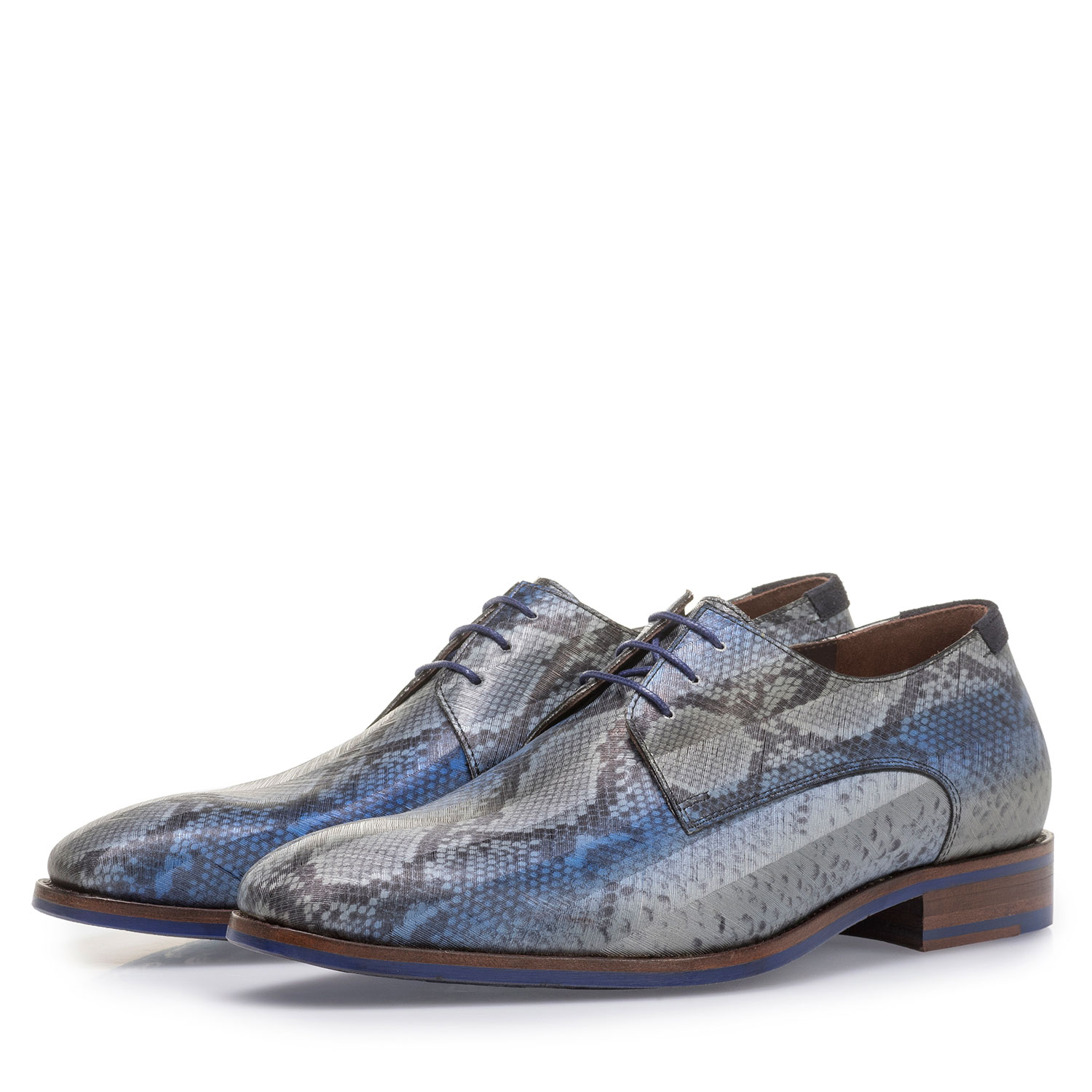 18297/00 - Blue lace shoe with snake print