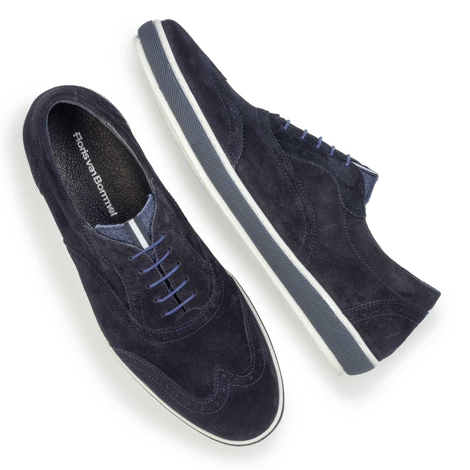 19036/39 - Dark blue suede leather brogue shoe
