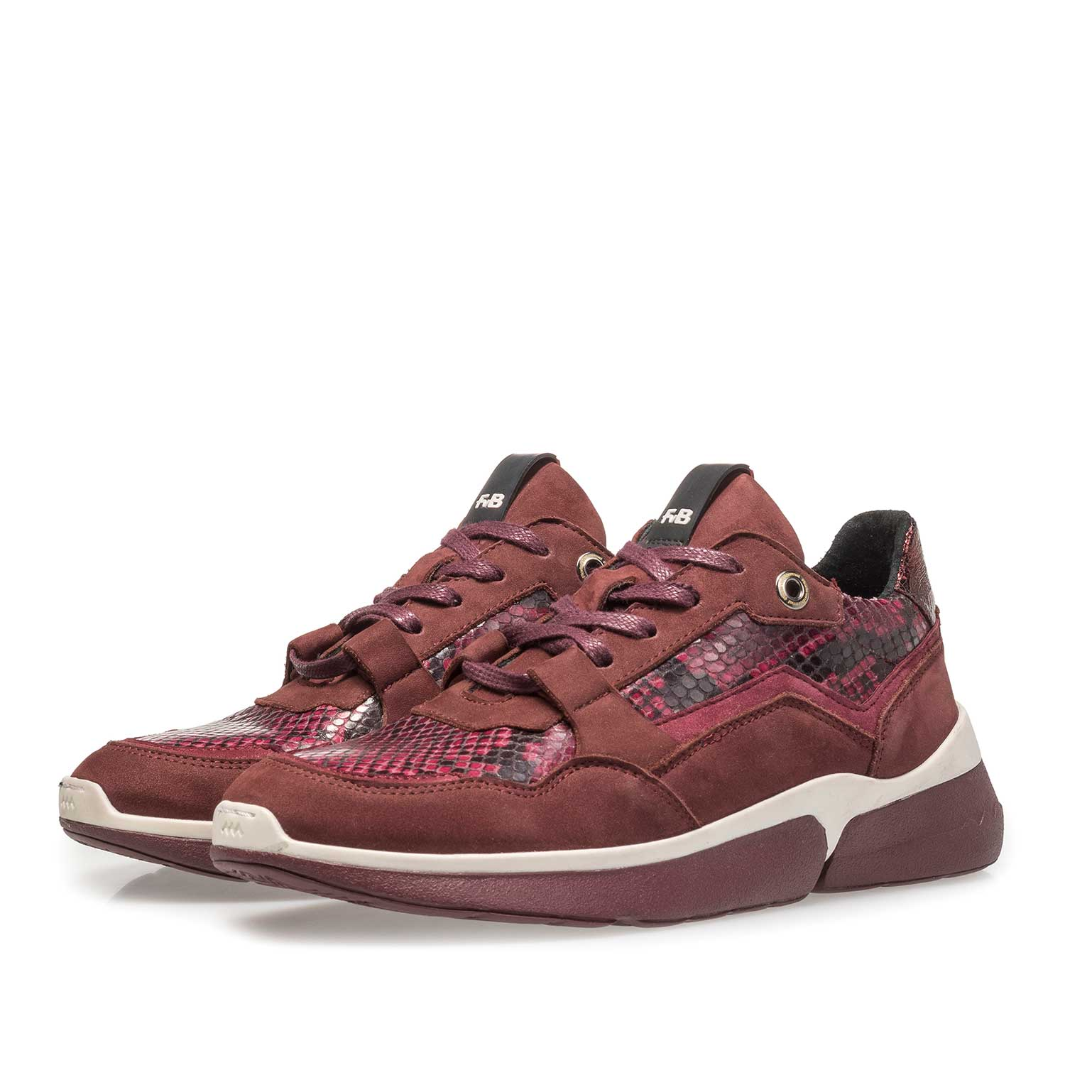 85291/02 - Burgundy red suede leather sneaker with snake print