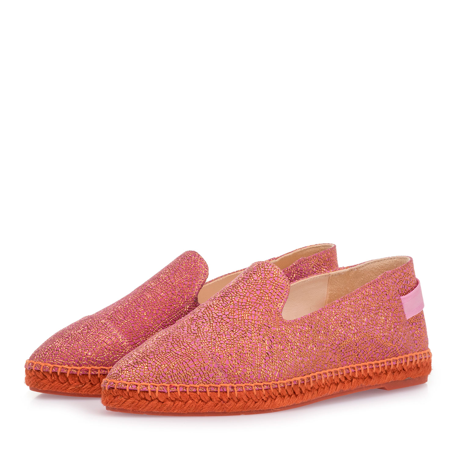 85420/00 - Pink leather espadrilles with metallic print