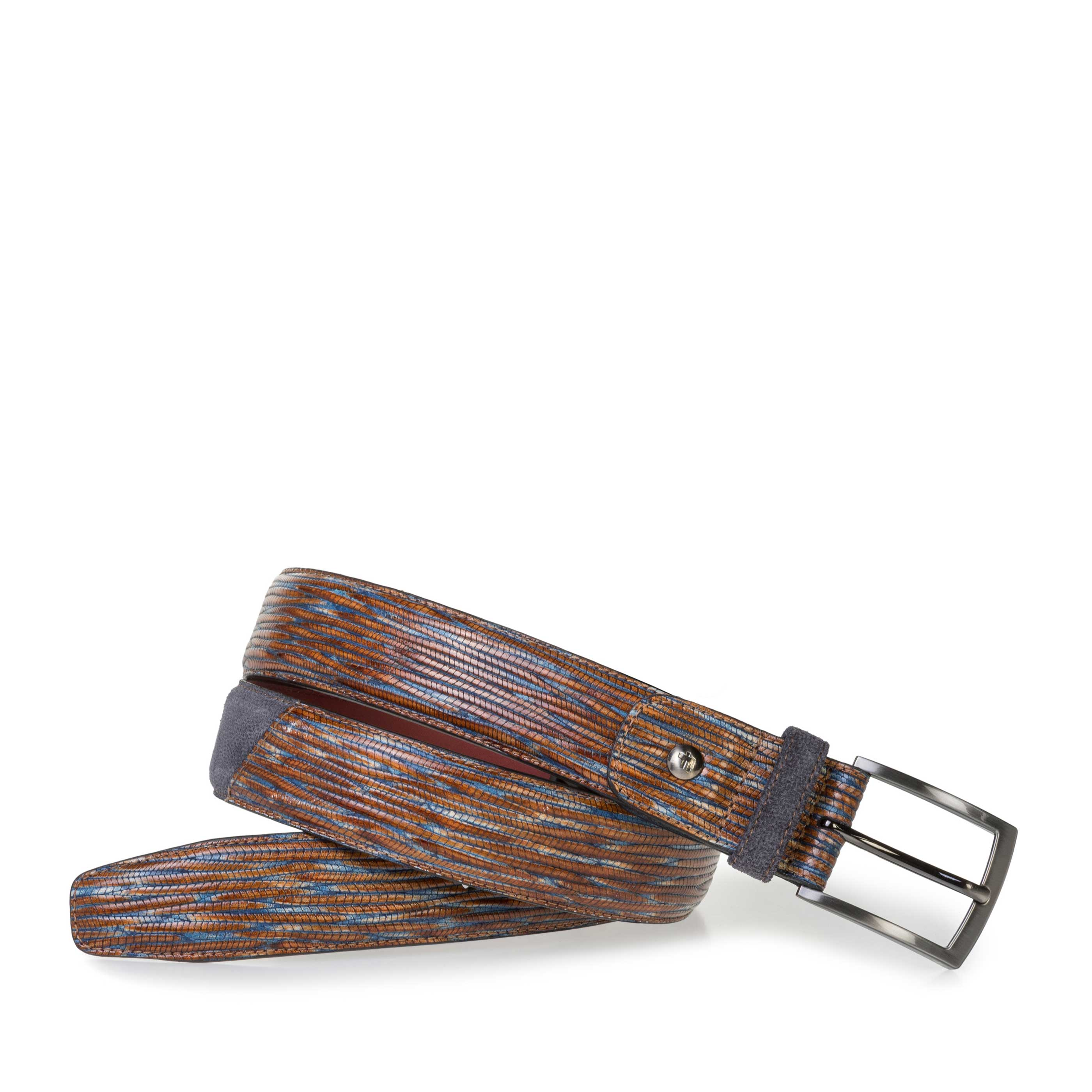 75188/60 - Blue and red leather belt with print