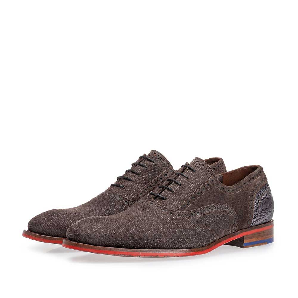 19109/07 - Lace shoe dark brown with print