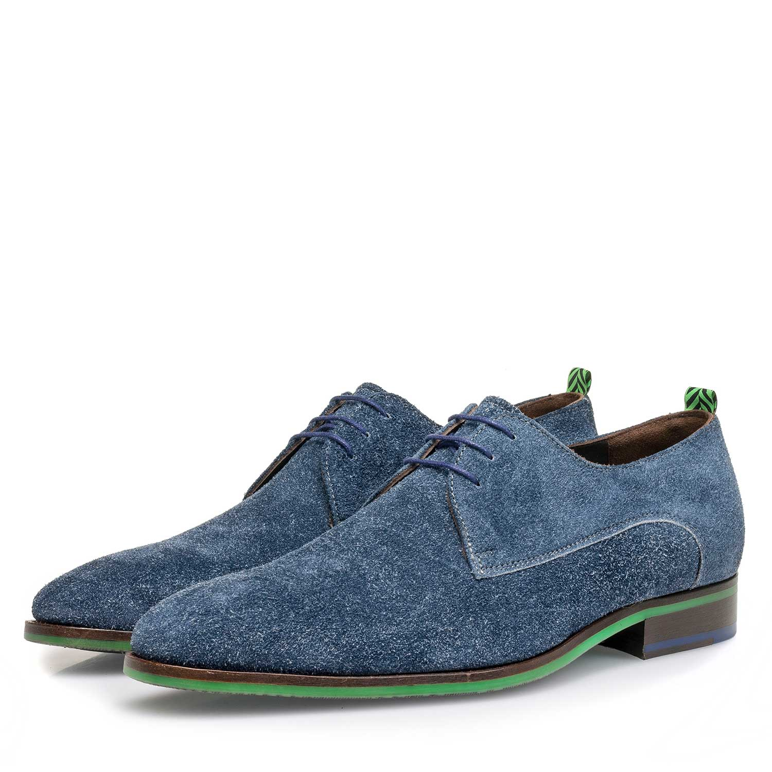18092/01 - Blue buffed suede leather lace shoe