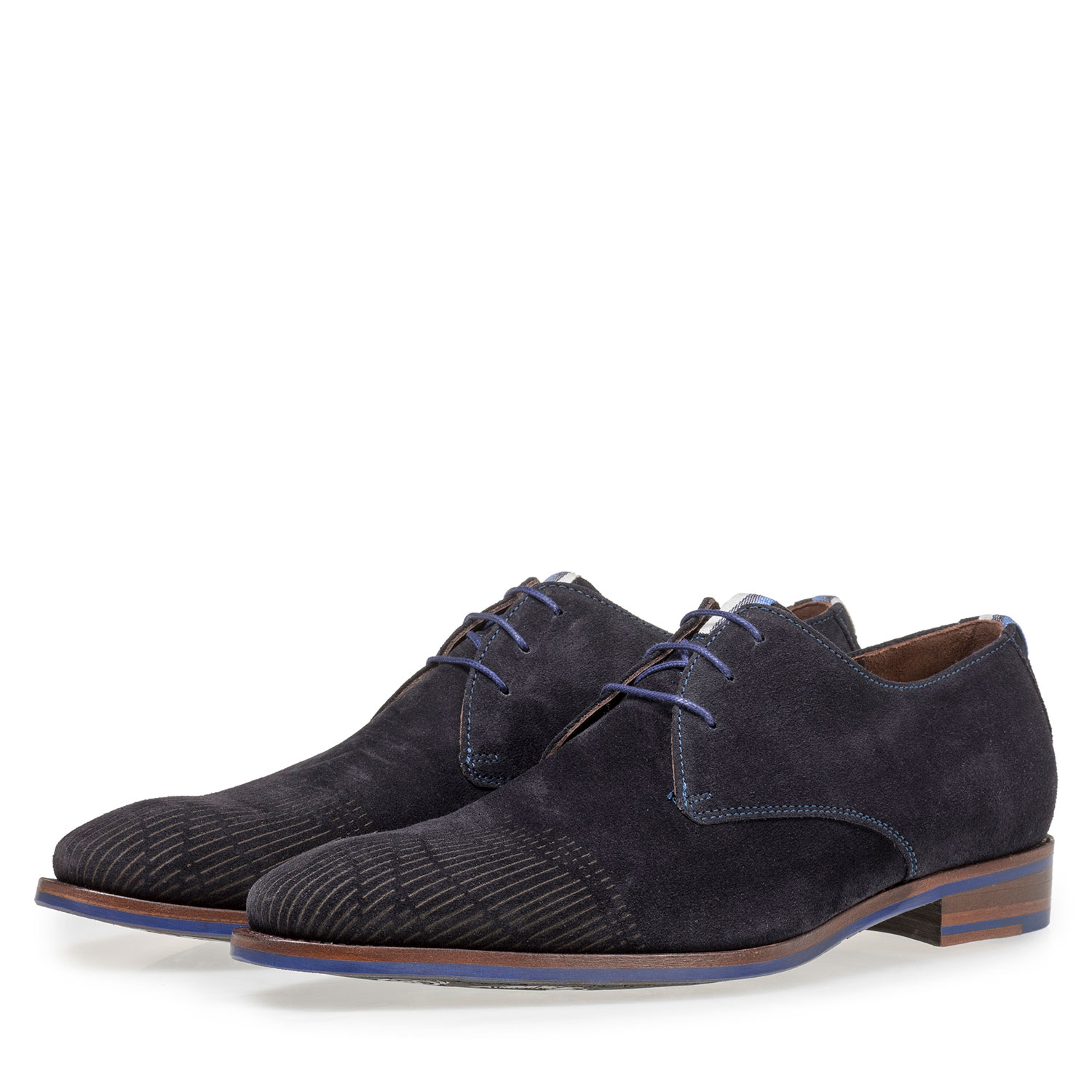 18276/05 - Dark blue suede leather lace shoe with laser print