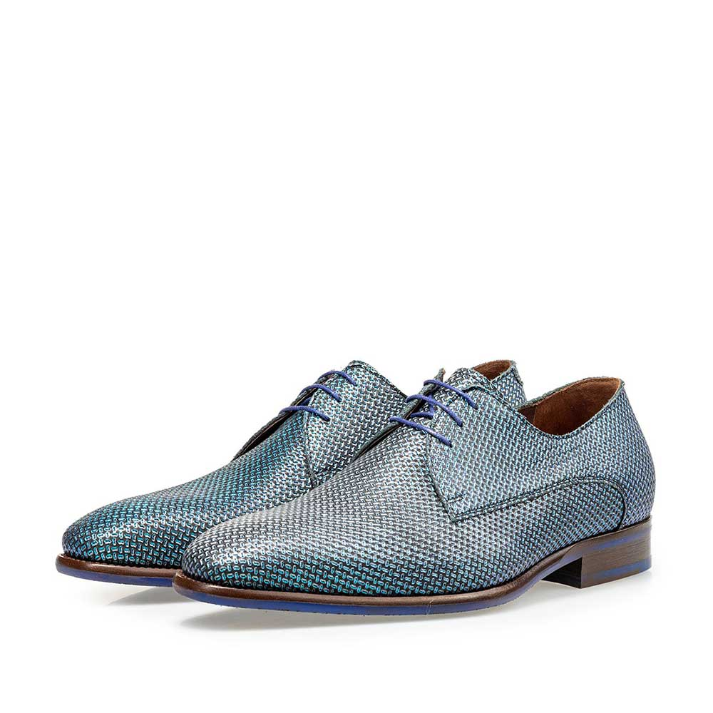 18368/01 - Lace shoe blue metallic print