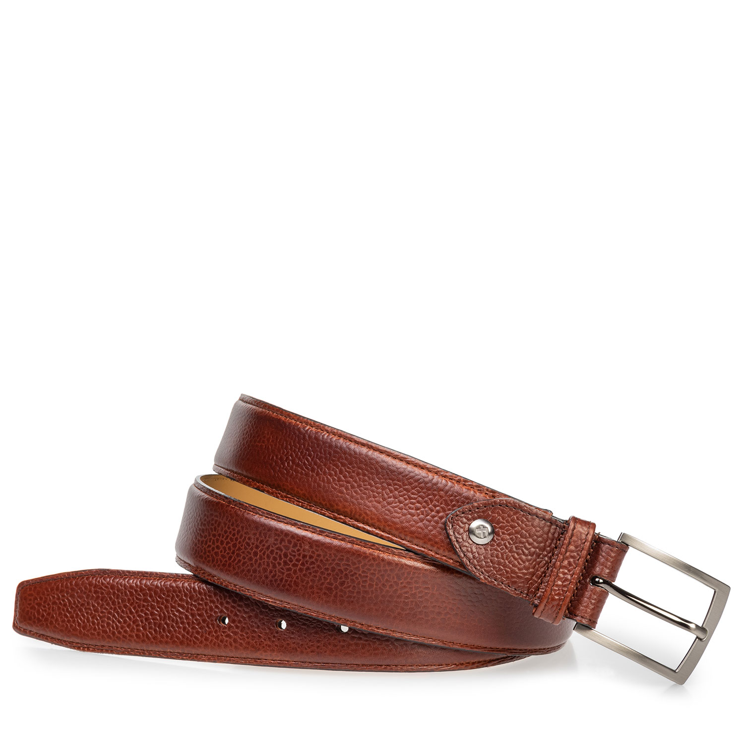 75533/11 - Leather belt cognac with structured pattern