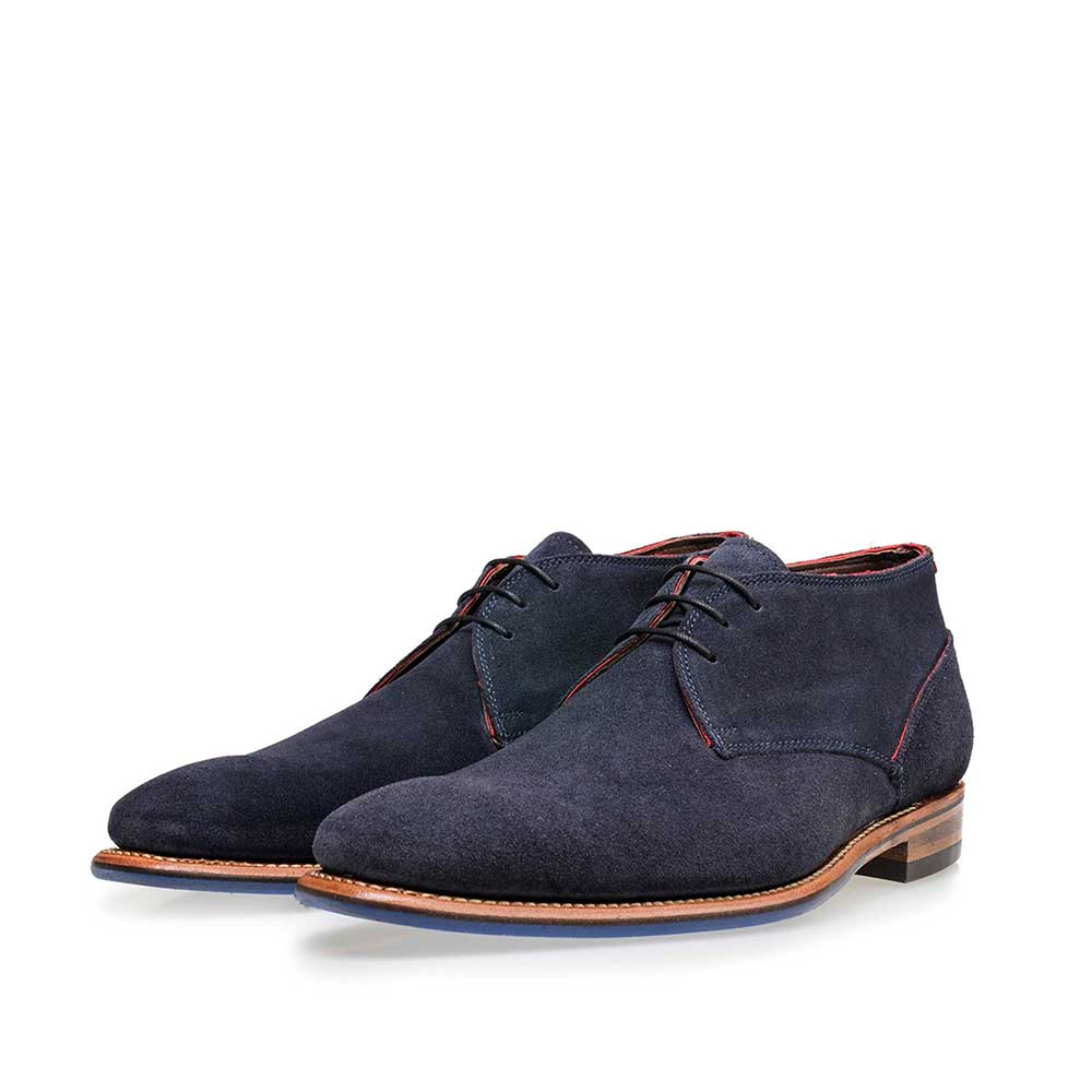 10673/09 - Floris van Bommel blue suede men's lace-up boot