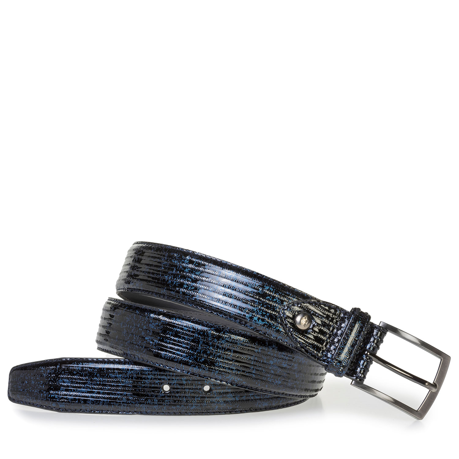 75203/00 - Blue patent leather belt with print