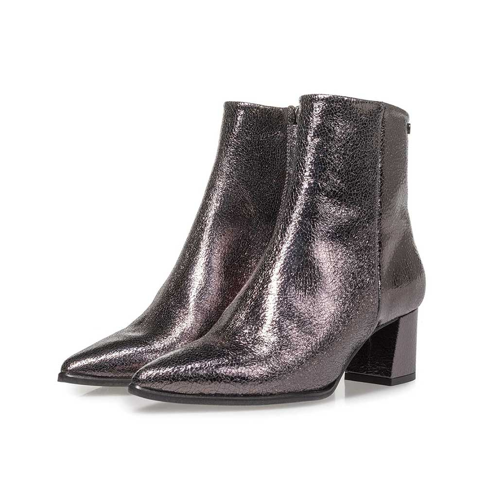 85623/00 - Dark grey leather ankle boots with metallic print