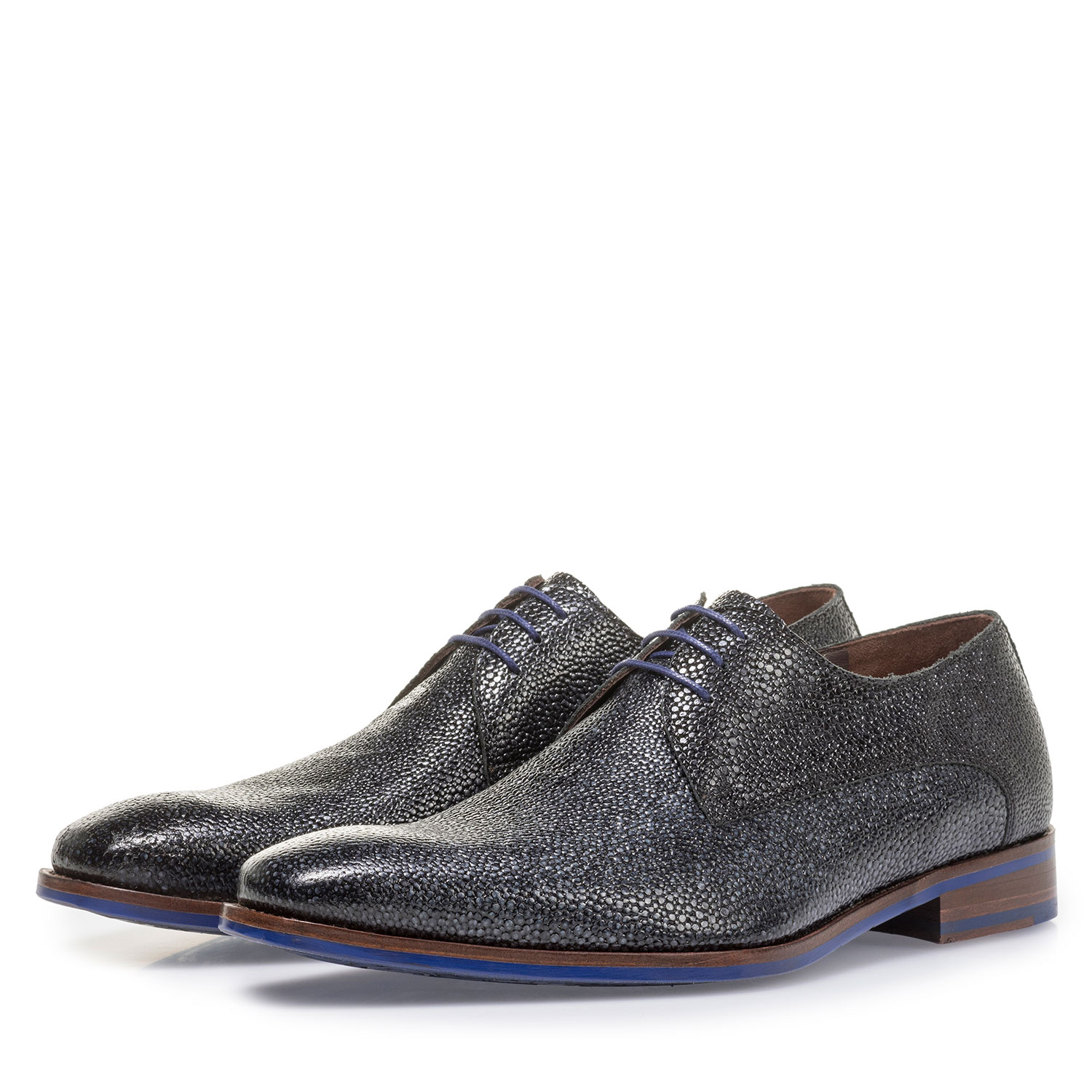 18159/23 - Blue leather lace shoe with metallic print