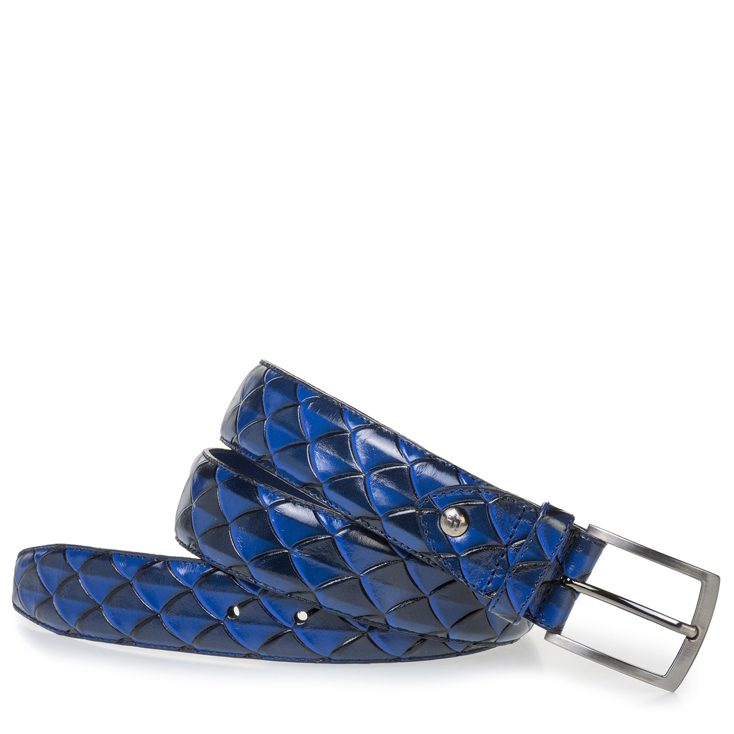 75201/63 - Premium blue leather belt with print