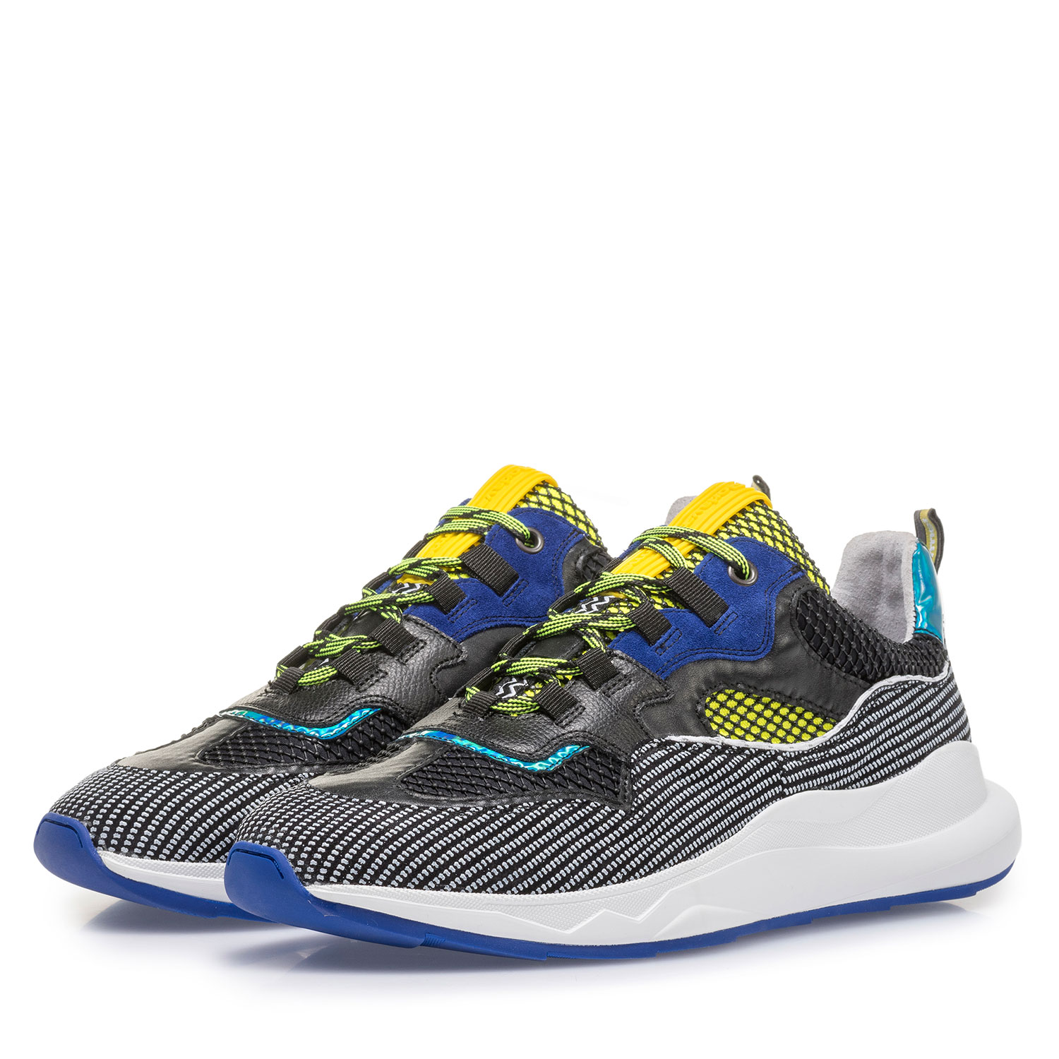 16268/00 - Premium blue and yellow suede leather sneaker