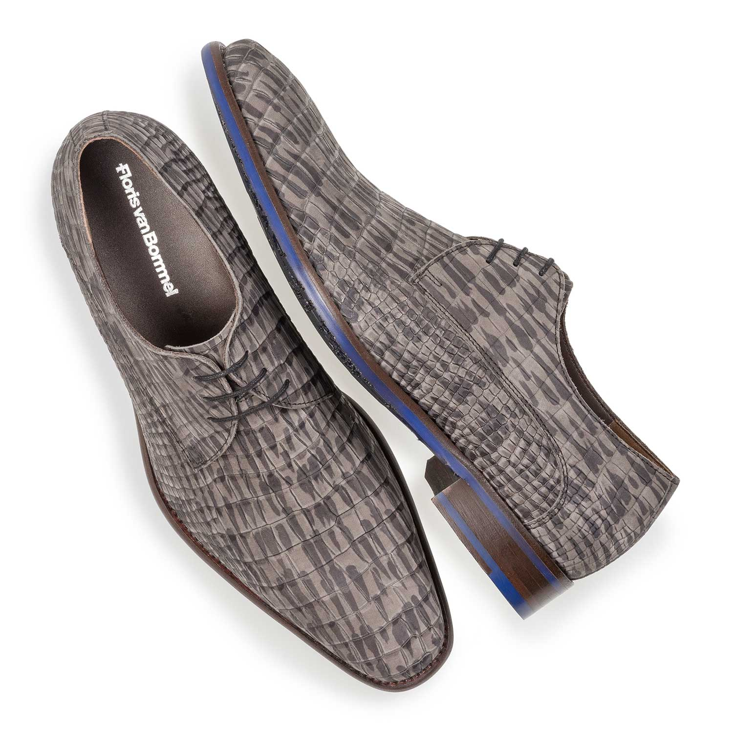 18159/12 - Grey nubuck leather lace shoe with croco print