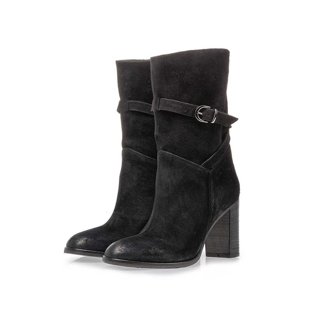 85719/01 - Mid-high boot black suede leather