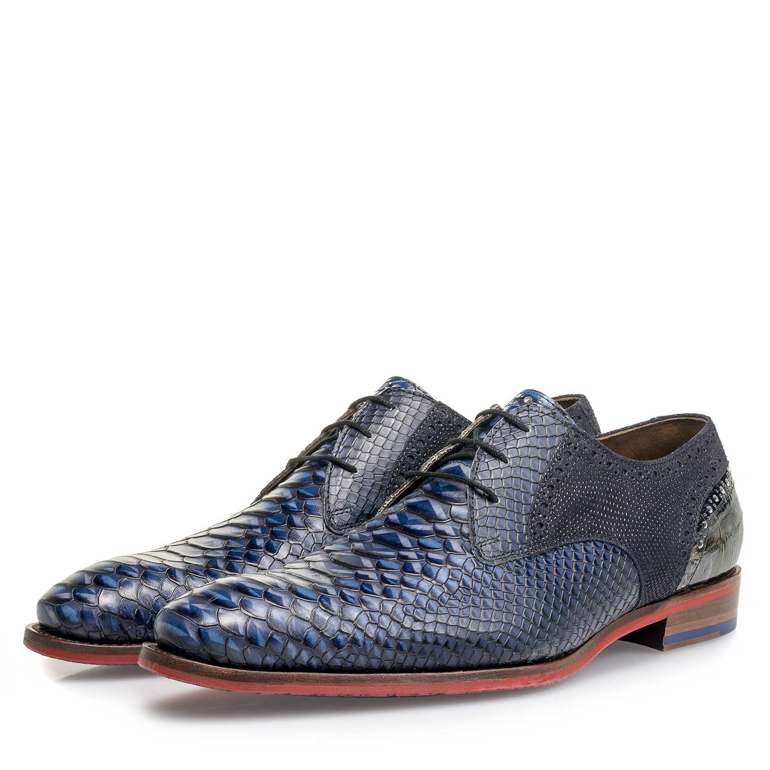 18106/00 - Blue snake print leather lace shoe