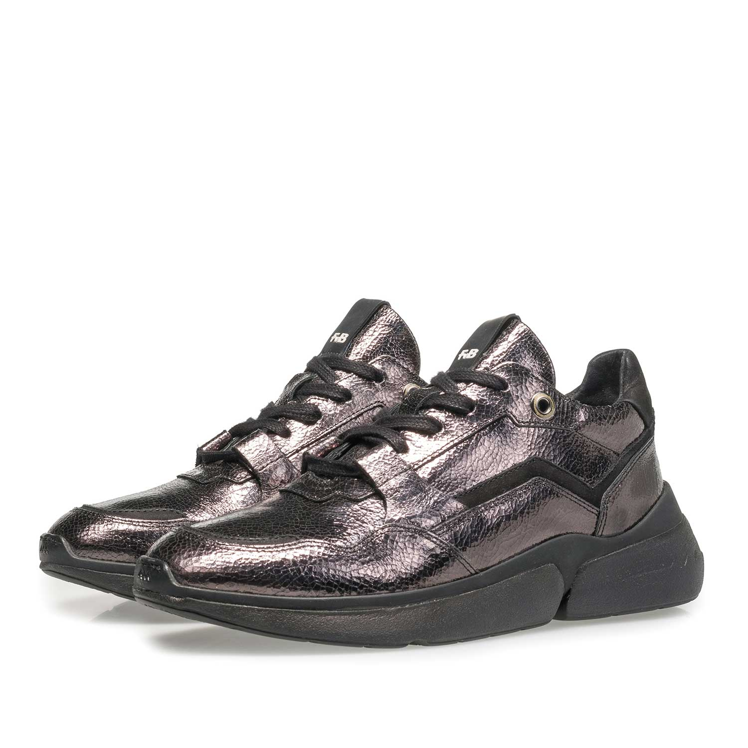 85291/07 - Dark grey leather sneaker with metallic print