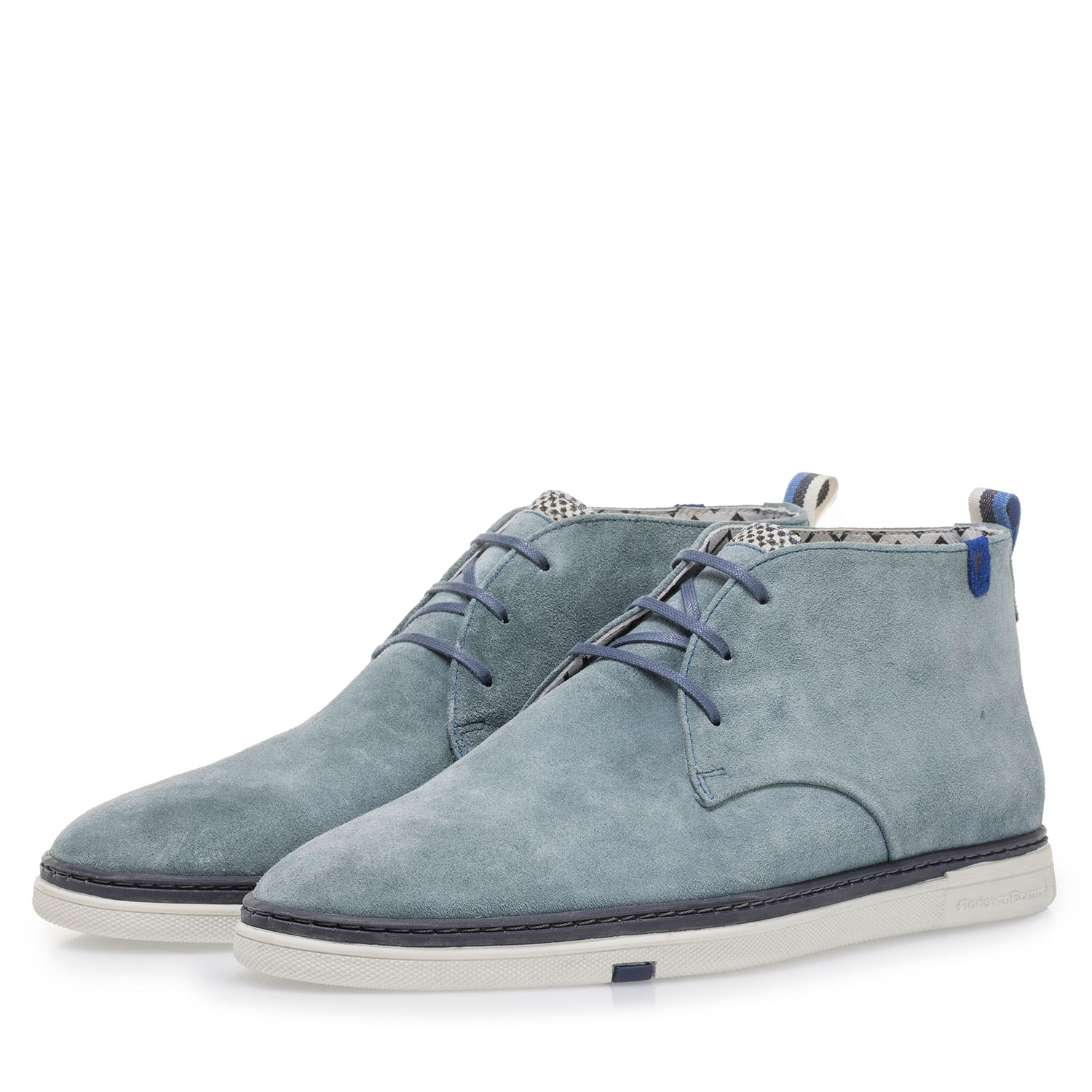 10502/07 - Light blue suede leather lace boot