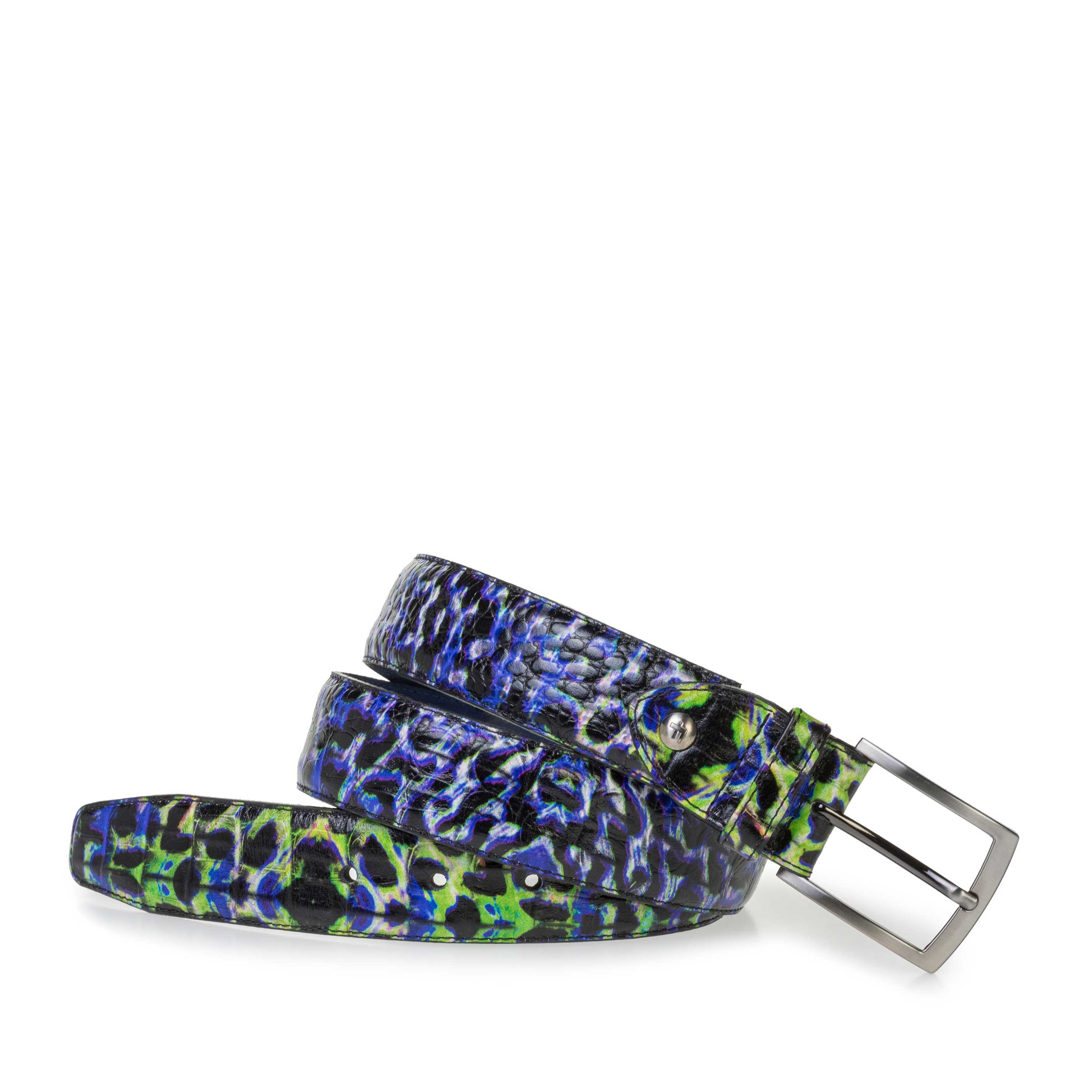 75200/98 - Premium blue belt with a croco print