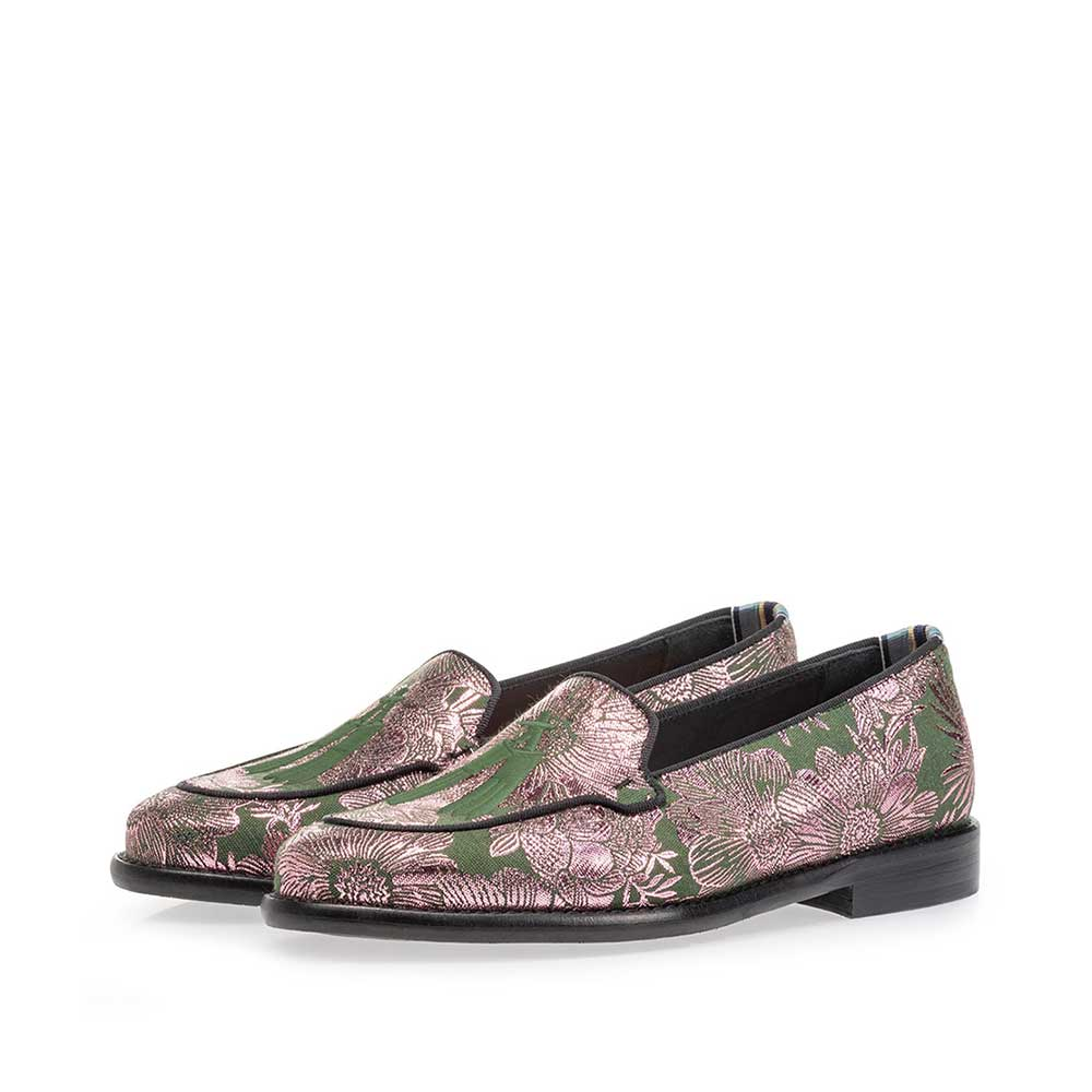 85426/05 - Loafer green suede leather with print