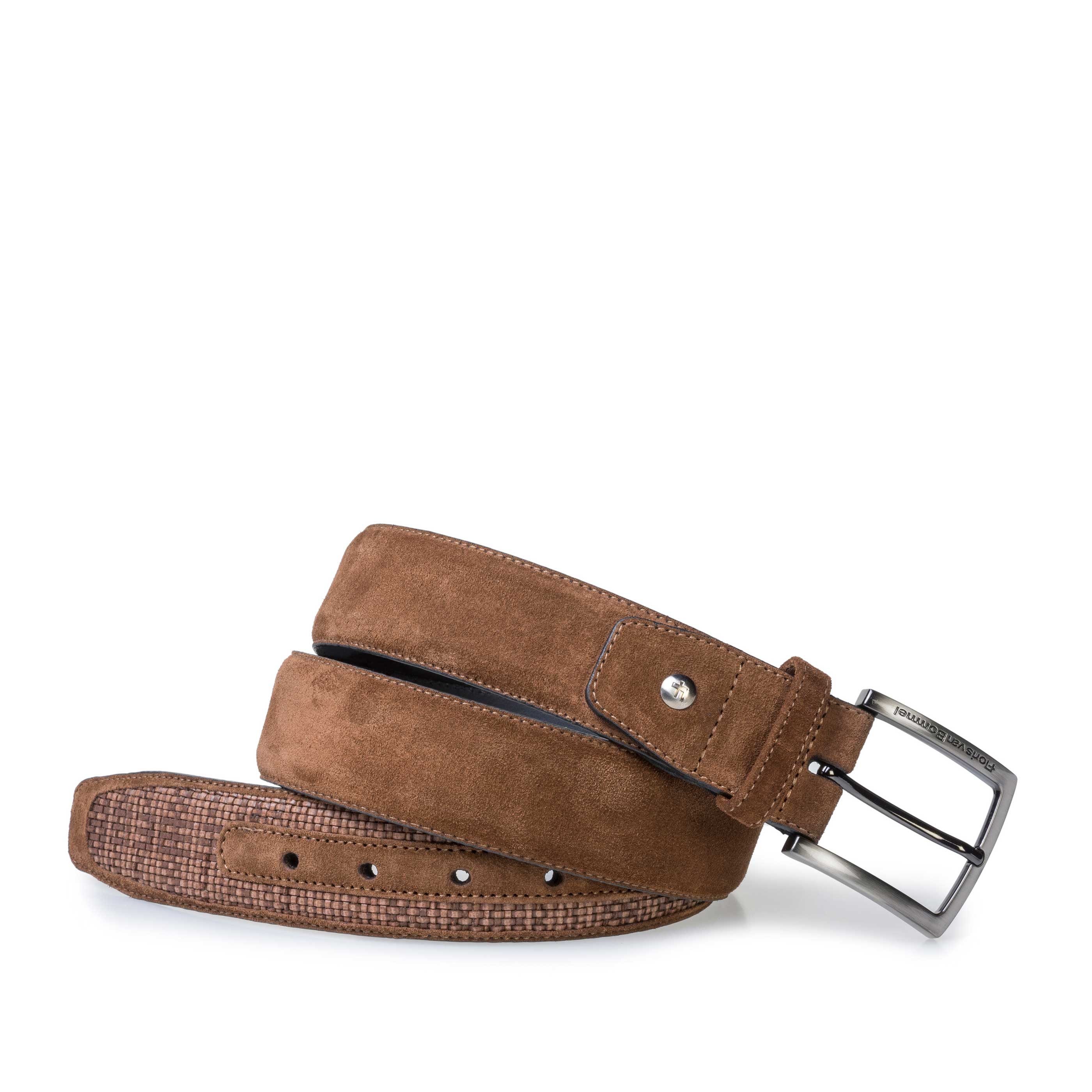 75159/29 - Brown braided suede leather belt