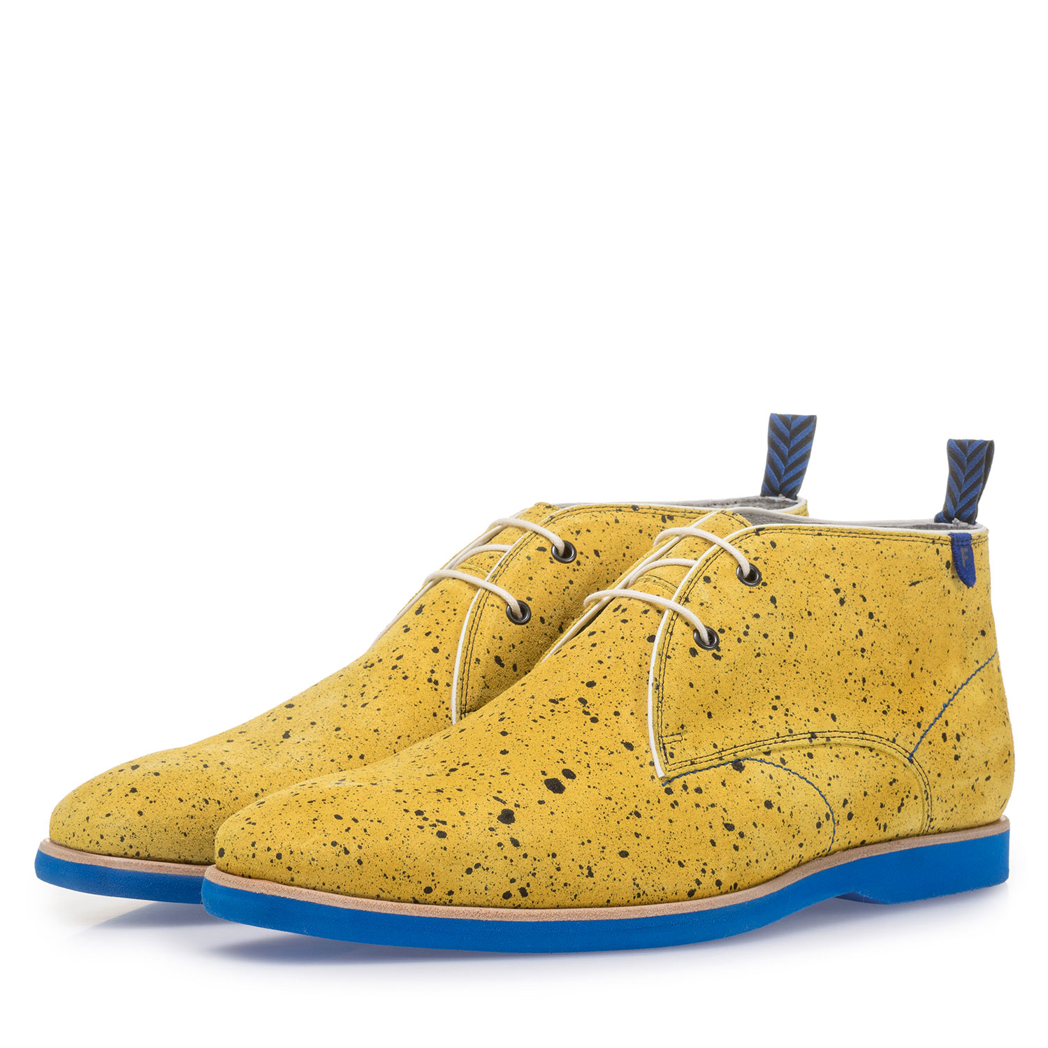 10014/16 - Yellow suede leather lace boot with print