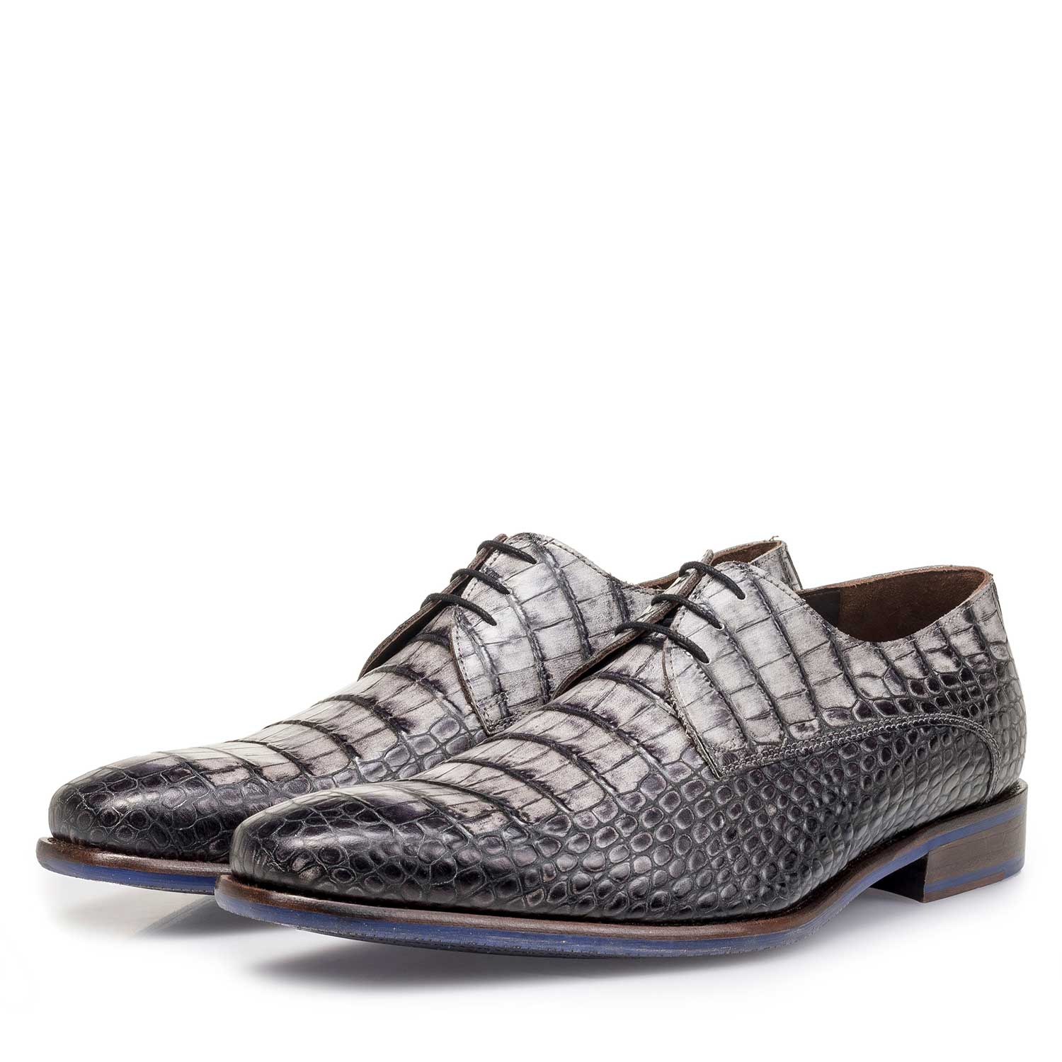 14204/14 - Grey croco print calf leather lace shoe