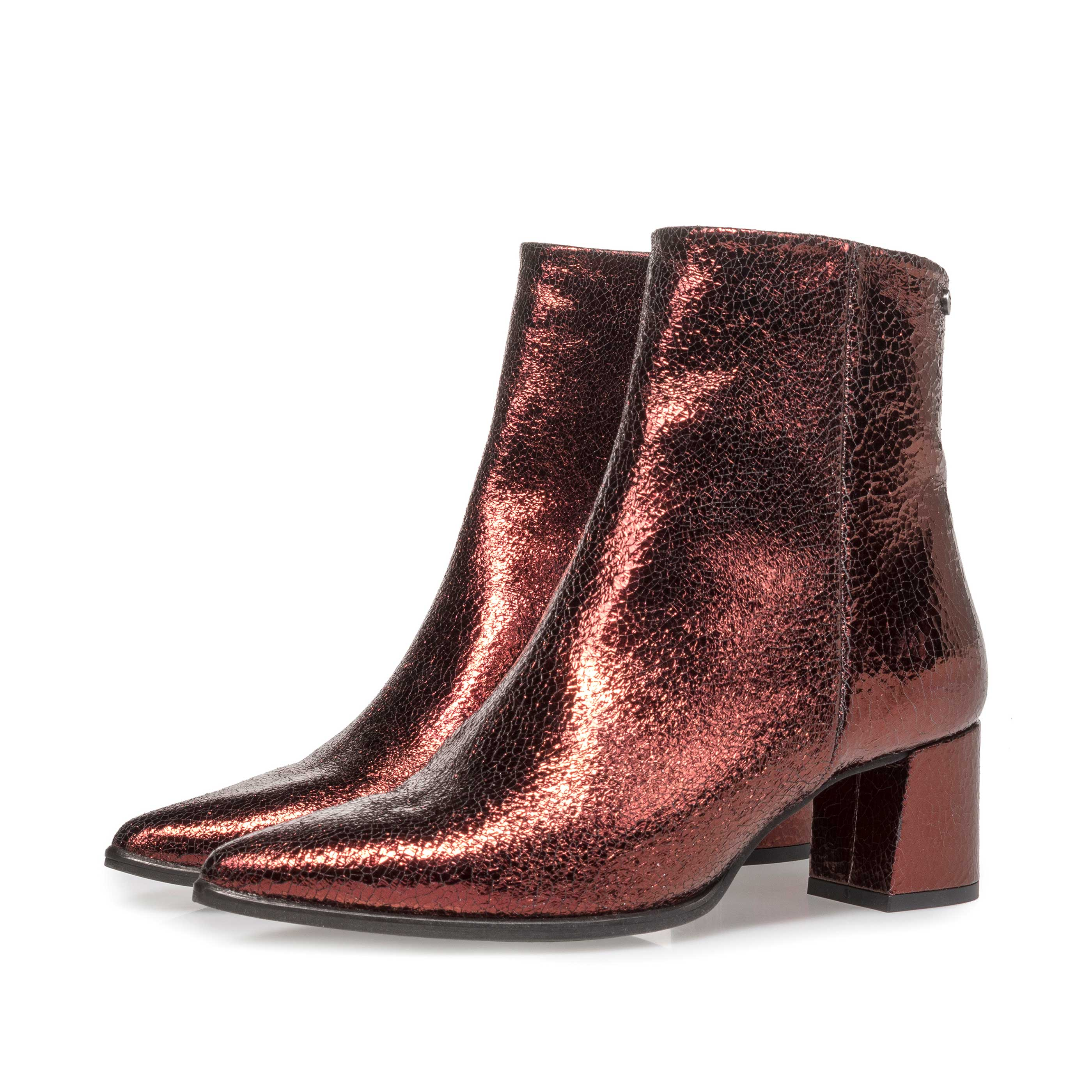 85623/07 - Burgundy red leather ankle boots with metallic print